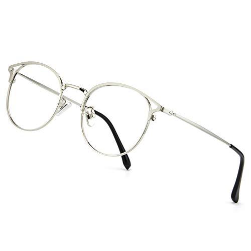 Cyxus Blaulichtfilter Brille Damen mit Katzenauge, Rund Mode Vintage Brille Ohne Stärke, Anti Schädliches Blaulicht UV400 von Handy, Computer, PC(Silber)