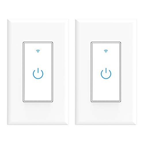 Wifi Smart Switch, Wifi Light Switch 2 Packs, Compatible with Alexa and Google Home, App Remote Control with Timing Funtion, No Hub Required (Neutral Wire Required)