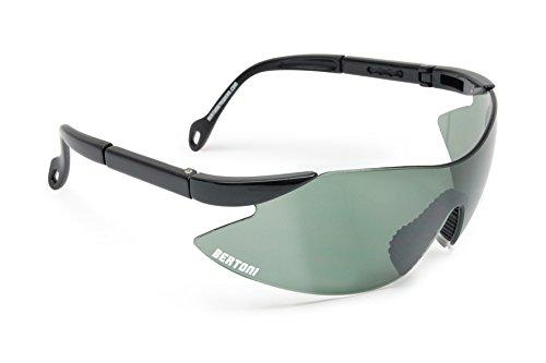 Bertoni iWear SA AF185 - Gafas de tiro, protección para campo de tiro, con lentes resistentes a los impactos y patillas ajustables nero perla - lente verde G15 Talla:MEDIUM-LARGE