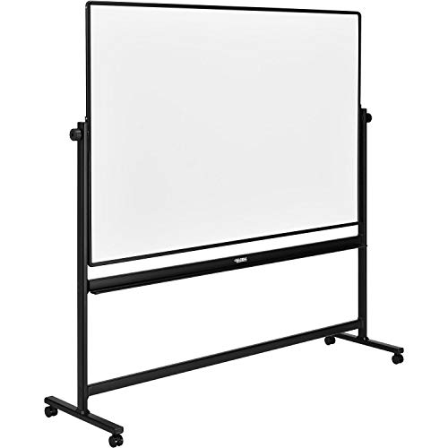 Rolling Magnetic Dry Erase Whiteboard, Double Sided Reversible, 96 x 48, Black Frame