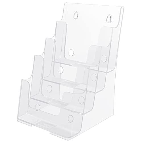 Belle Vous Presentoir à Plusieurs Niveaux - 4 Compartiments A5 en Plastique Transparent - Banette Murale ou sur Bureau - Contient Dépliants, Flyers, Menus, et Brochures