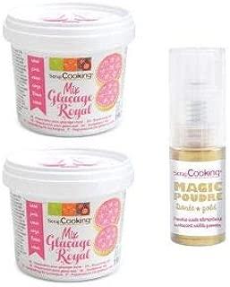 Polvo alimentario dorado Preparaci/ón para glasa real rosa 380 g