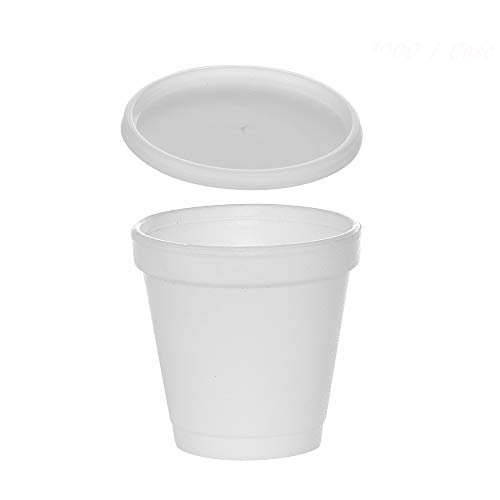 (100 Sets) 4 oz White Foam Cups with Translucent Vented Lids, Disposable To-Go Espresso Shot Cups, Styrofoam Coffee Cups/Insulated Foam Cups