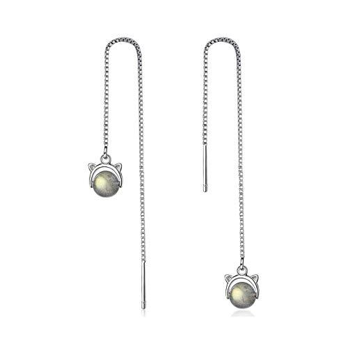 CQOQ Linda Piedra Lunar Gato Pendientes Largos Personalidad Simple Sterling Silver Pendientes Cadena Accesorios De Boda De Las Mujeres