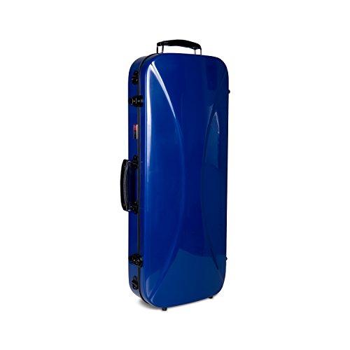 Crossrock CRF1000DVNVBL Fiberglass Double Violin Case For Two 4/4 Full Size Violins, Backpack Style in Navy Blue