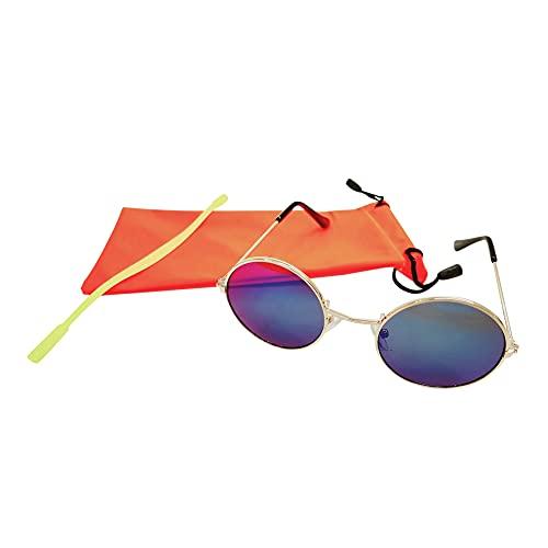 1s1k Gafa de Sol Infantil Proteccion UV Montura Metal (Azul, Moldura Dorada+Funda Roja)