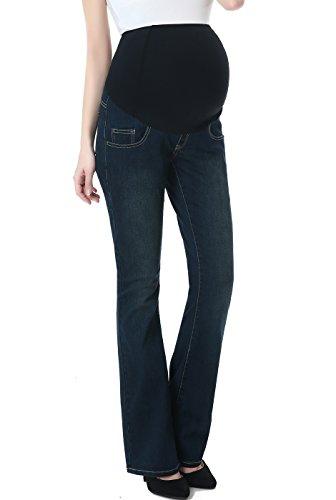 Momo Maternity Womens Stetchy Full Panel Modern Boot Cut Denim Jeans,Rich Indigo Blue,26