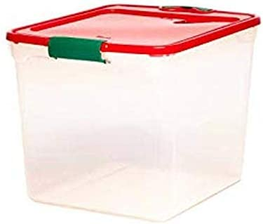 HOMZ Cheap mail Ranking TOP8 order specialty store Holiday Plastic 3430 Storage lid Container 31 Quart with