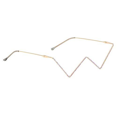 F Fityle Gafas de Sol de Lujo con Diamantes de Imitación para Mujer, Medio Marco, Sin Lentes, para Fiestas, para Fiestas, Disfraces, Festivales de Música, Etc. - Diamante de Oro