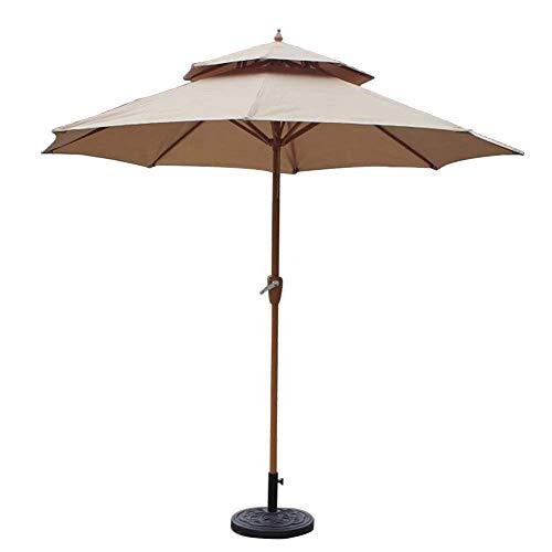 LY88 Parasol, dubbel, top tuin, Ø 270/270 cm, met zwengelgreep, zonneklep, waterdicht, bescherming voor terras, balkon, zwembad en strand