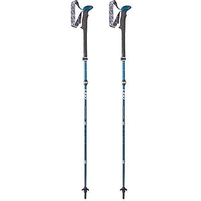 LEKI Unisex – Adult Micro Vario Carbon Trekking Poles, White/Blue/Neon Red, One Size
