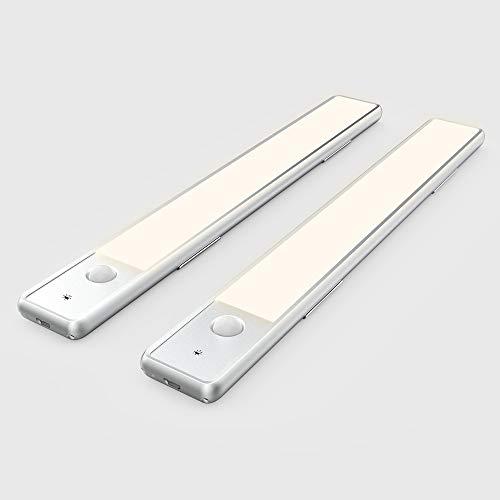 2 Piezas Luz Mueble Cocina USB 30cm | LED Recargable Armario | Sensor Movimiento | Blancas Cálido 4000K Brillo regulable | Iman Barra de luz fina avanzada, para Armario Pasillo Cajón | EZVALO GÉMINIS