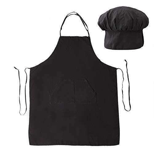 QINGHUI Chef Apron Set, Koken schorten Chef Hoed En Keuken Schort Met Pocket Verstelbare Unisex Baker Kostuum Voor Koken Bakken Schilderen (Zwart)