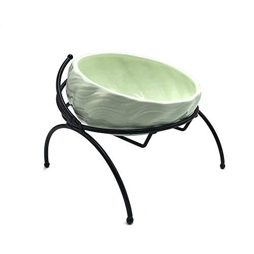 MOLOVET ペットセラミックボウル 給餌ボウル 斜め口ボウル 食べやすい餌台 鉄製スタンド おしゃれ 波状パターン 猫や小型犬に適した (ライトグリーン)