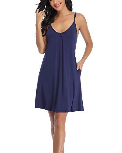 EVELIFE Womens Nightgown V Neck Sexy Strappy Nightdress Short Chemise...