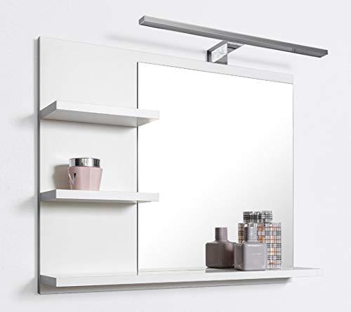 DOMTECH Badspiegel mit Ablagen Weiß mit LED Beleuchtung Badezimmer Spiegel Wandspiegel, L
