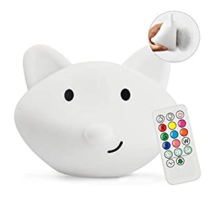 Yuede LED Nursery Night Light for Kids Cute Animal Baby Silicone Night Light with Touch Sensor and Remote Control – 9 Color Changing USB Rechargeable Infant or Toddle Night Light & Baby Gifts (Fox)
