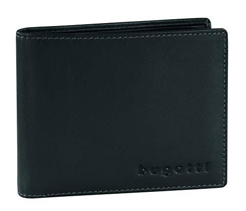 Bugatti Horizon Geldbeutel Männer Leder - Geldbörse Herren Schwarz - Portmonaise Portemonnaie Portmonee Brieftasche Wallet Ledergeldbeutel