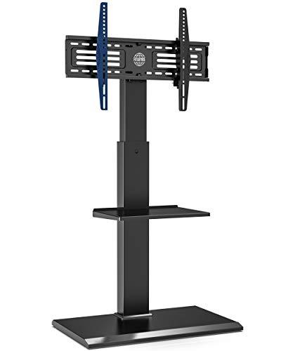 FITUEYES TV Bodenständer mit Eisenbasis 2 Regale TV Standfuß TV Ständer Fernsehstand höhenverstellbar schwenkbar Kippbar für 32 bis 70 Zoll Flachbildschirm FT-S2601MB