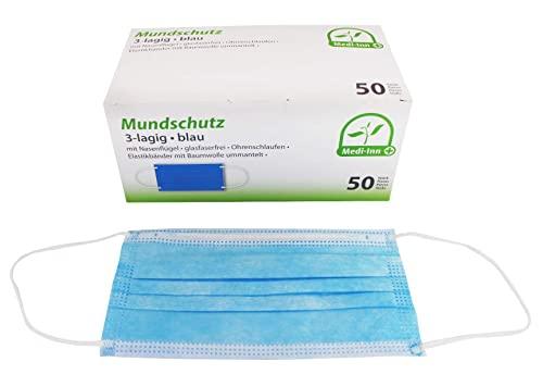 Medi-Inn+® [50x Mundschutz Maske Schutzmaske für Mund und Nasenschutz (Lieferzeit 1-2 Tage aus Deutschland) CE-Zertifiziert