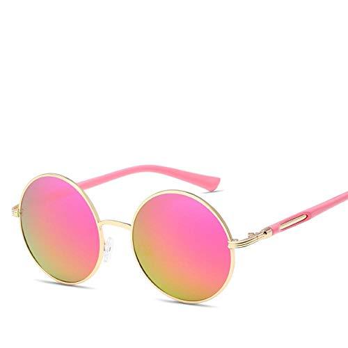 Gafas de Sol Sunglasses Uv400 Gafas De Sol Redondas con Espejo Mujeres Vintage Metal Shade Frame Retro Hombres De Gran Tamaño Gafas De Sol Gafas C4