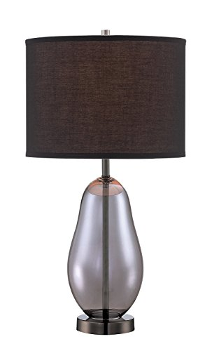 "Lite Source LS-22893 Ovadia Table Lamp, 13"" x 13"" x 24.25"", Smoked Chrome/Black"