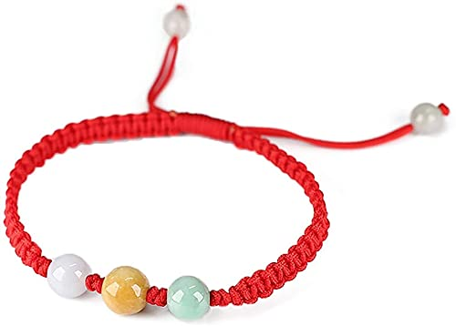 Plztou Feng Shui Premium Icy FEI Cui Jade Pulsera para niños Rare Three Color Beads Ajustable Jade Bangle Curación Chakra Talisman Crystal Bracelet para la Felicidad Paz Bienestar Bienaventurado