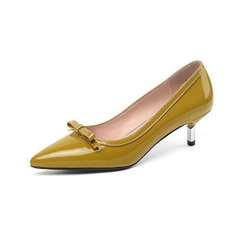 TinaCus Sapato feminino de couro envernizado, feito à mão, bico fino, salto stiletto, sem cadarço, com lindo laço, Amarelo, 11.5