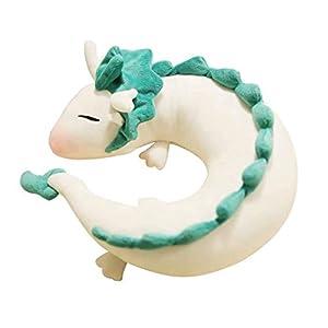 Dragon Plush Toy, Anime Cute White Dragon Doll Peluche de juguete Animación japonesa Spirited Away Dragon Pillow En forma de U Almohada para el cuello Muñeca de peluche Juguetes suaves para bebés