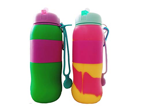 Best Starloop 2pack Collapsible Kids Water Bottle Silicone Outdoor Water Canteen - Silicone Foldable with Leak Proof Valve BPA Free, (Green+Mix)
