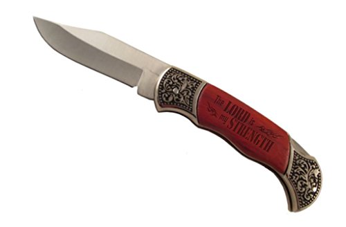 Hunting Knife by Lazer Designs Rosewood Wooden Handle Pocket Knife Laser Engraved 3in Straight Blade When Open - Perfect Corporate Gift Father's Day Weddings Incentives Employee Awards and More!