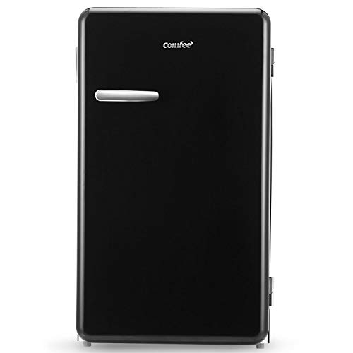 Comfee 3.3 Cubic Feet Solo Series Retro Refrigerator Sleek Appearance HIPS Interior, Energy Saving, Adjustable Legs, Temperature Thermostat Dial, Removable Shelf, Perfect for Home/Dorm/Garage [Black]