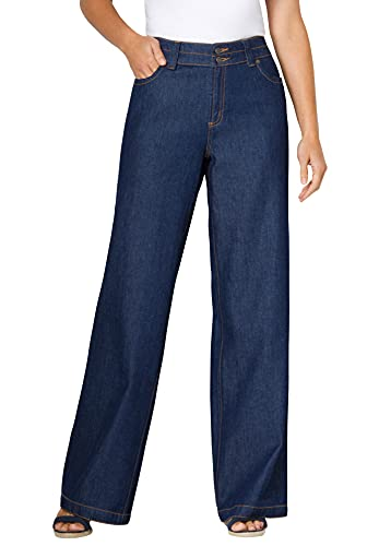 Woman Within Women's Plus Size Wide Leg Cotton Jean - 18 W, Indigo Gray