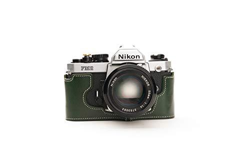 Zakao - Funda para Nikon FM2, hecha a mano, piel auténtica, con correa de mano, color verde