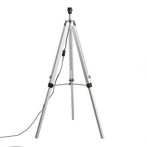 QAZQA Industrieel Landelijke vloerlamp wit zonder kap - Tripod Hout/Metaal Langwerpig Geschikt voor LED Max. 1 x 25 Watt