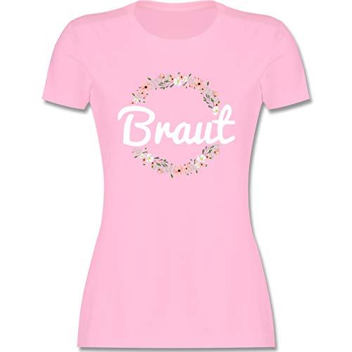 JGA Junggesellenabschied Frauen - Braut Blumenkranz - M - Rosa - junggesellinnenabschied Tshirt - L191 - Tailliertes Tshirt für Damen und Frauen T-Shirt
