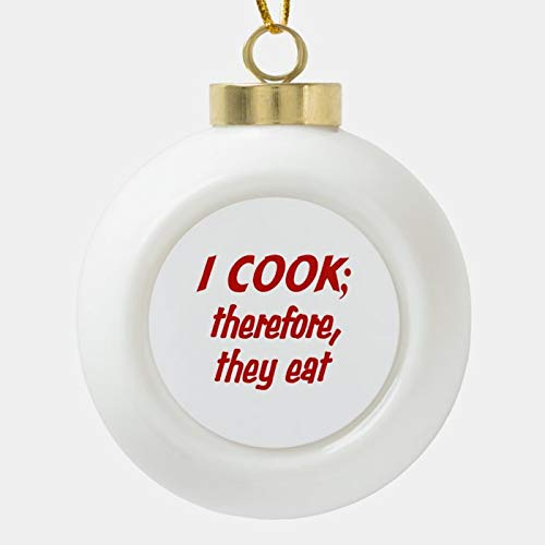 Christmas Ball Ornaments, Chef'S Philosophy - Choose Your Background Color Ceramic Ball Christmas Ornament, Shatterproof Christmas Decorations Tree Balls for Holiday Wedding Party Decoration