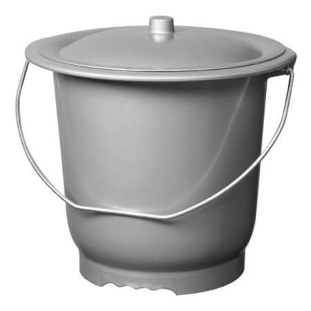 Les Colis Noirs LCN - Seau Hygienique avec Couvercle pour Adulte Gris 10L - Pot Chambre - 064