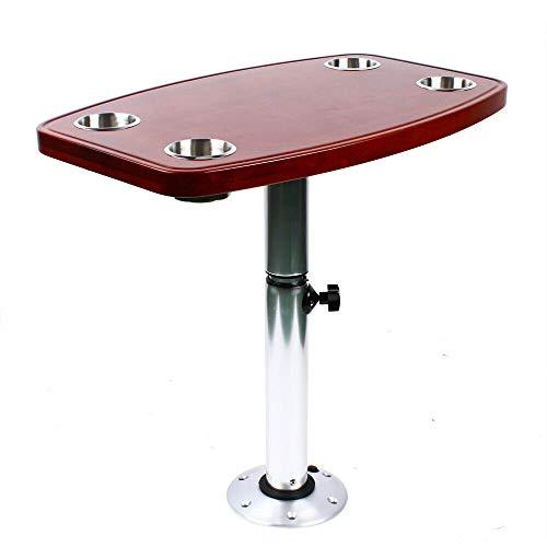 4 soportes para bebidas, mesa telescópica, base extraíble, para barco, caravana, uso en barcos y yates, mesa de barco, mesa de roble lacado, estructura de mesa