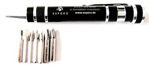 Exporo Immobilien - Werkzeug für unterwegs - Schraubendreher mit verschiedenen Bit´s