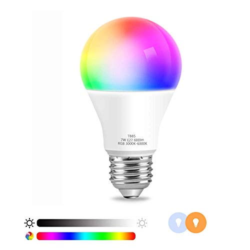 Sanbee Bombilla LED Inteligente WiFi, RGBCW Multicolor Regulable, Luz Inteligente 6000K 7W, Compatible con Amazon Echo Alexa Google Home, Soporta Luz Blanca Fría y Cálida, E27,...