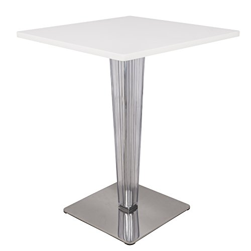 LeisureMod Modern Glen MDF Square Bistro Dining Table in White with Acrylic Chrome Base
