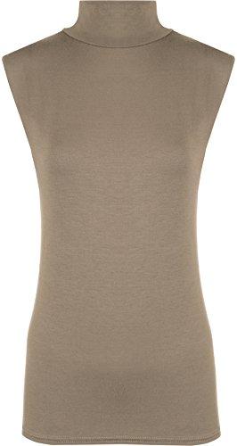 Damen Polo-Kragen, einfarbig, Stretch, ärmellos, figurbetont, Größen 34-40 Gr. 50-52, mokka