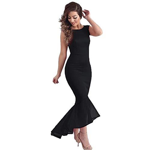 Vestidos para Mujer Casual, Mujer Sirena Cola de pez sin Mangas Formal Noche Fiesta Cola de pez Vestido de Bola Vestido, Mujer Vestidos Elegantes (Negro L)