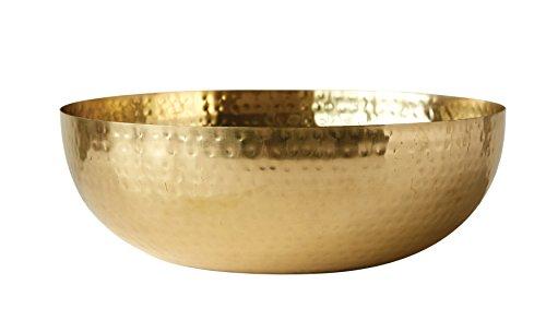 "Creative Co-Op Round Hammered Metal Bowl, 14"", Gold,DA7392"
