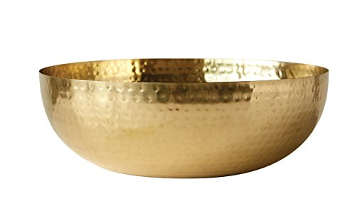 Creative Co-Op Round Hammered Metal Bowl, 14', Gold