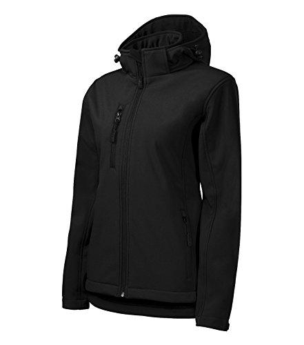 Adler Damen Softshelljacke/Regenjacke Performance Jacke mit Kapuze regendicht (L, schwarz)
