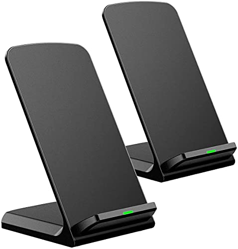 Wireless Charger 15W, 2 Pack, Qi Charger Stand with USB-C Port, Fast Wireless Charging Station Compatible with iPhone 12 Pro Max/12/11/8/XR/XS, Galaxy S20/S10/S9/S8/Note10/9 (No Adapter)