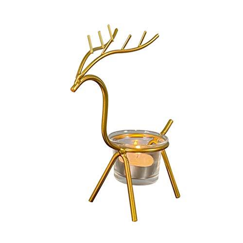 lijun Metal Reindeer Tea Light Candle Holders, Christmas Decoration for Home, Reindeer