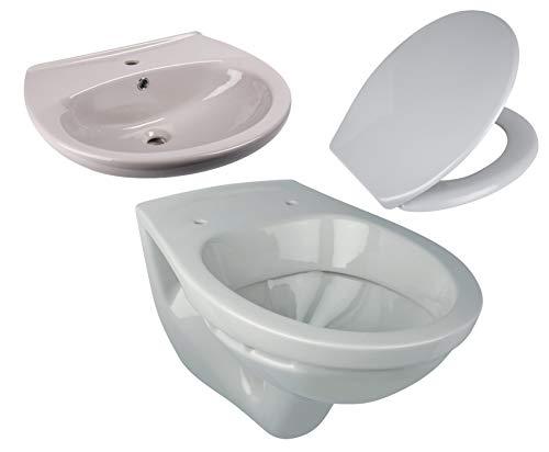 Calmwaters® - Komplettset in Manhattan-Grau aus Wand-WC, Toilettendeckel und 60 cm großen Waschbecken - 99000202
